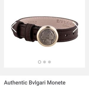 Bvlgari leather bracelet with gold tone ornament f